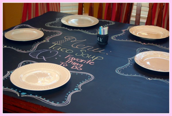 Kristen Created This Beautiful Table For Her Family By Re Purposing Her Old  Dining Room Table And Painting It With Chalkboard Paint!