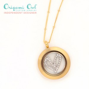 Gold Living Locket with Heart Window Plate