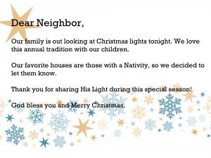 dear neighbor printable