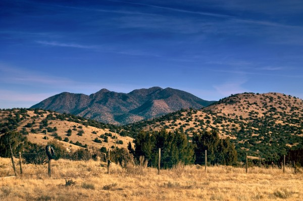 The Sandia Mountains  in the desert of New Mexico