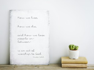Scandinavian style home decoration. Old wooden poster with cactus and books